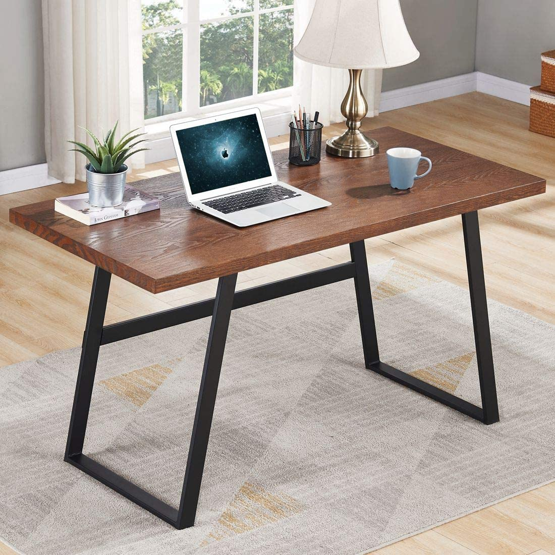 BON AUGURE Rustic Wood Computer Desk, Industrial PC Writing Desk, Vintage Study Table for Home Office Workstation (55 inch, Espresso)
