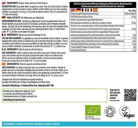 Sevenhills Wholefoods Pasta De Cacao (Licor, Masa) Orgánico, Obleas, 1kg: Amazon.es: Salud y cuidado personal