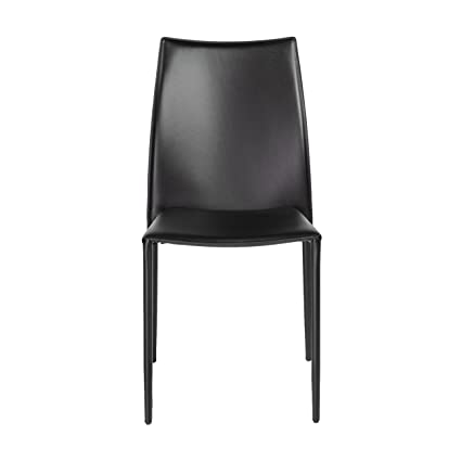 leather side chairs. Euro Style Dalia Leather Stackable Dining Side Chair, Set Of 4, Black Chairs .