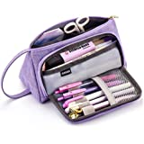 EASTHILL Medium Capacity Colored Linen Storage Pouch Marker Pen Pencil Case Multi-Slot Stationery Bag Holder for Middle High School Office College Student Girl Adult Teen Simple Purple