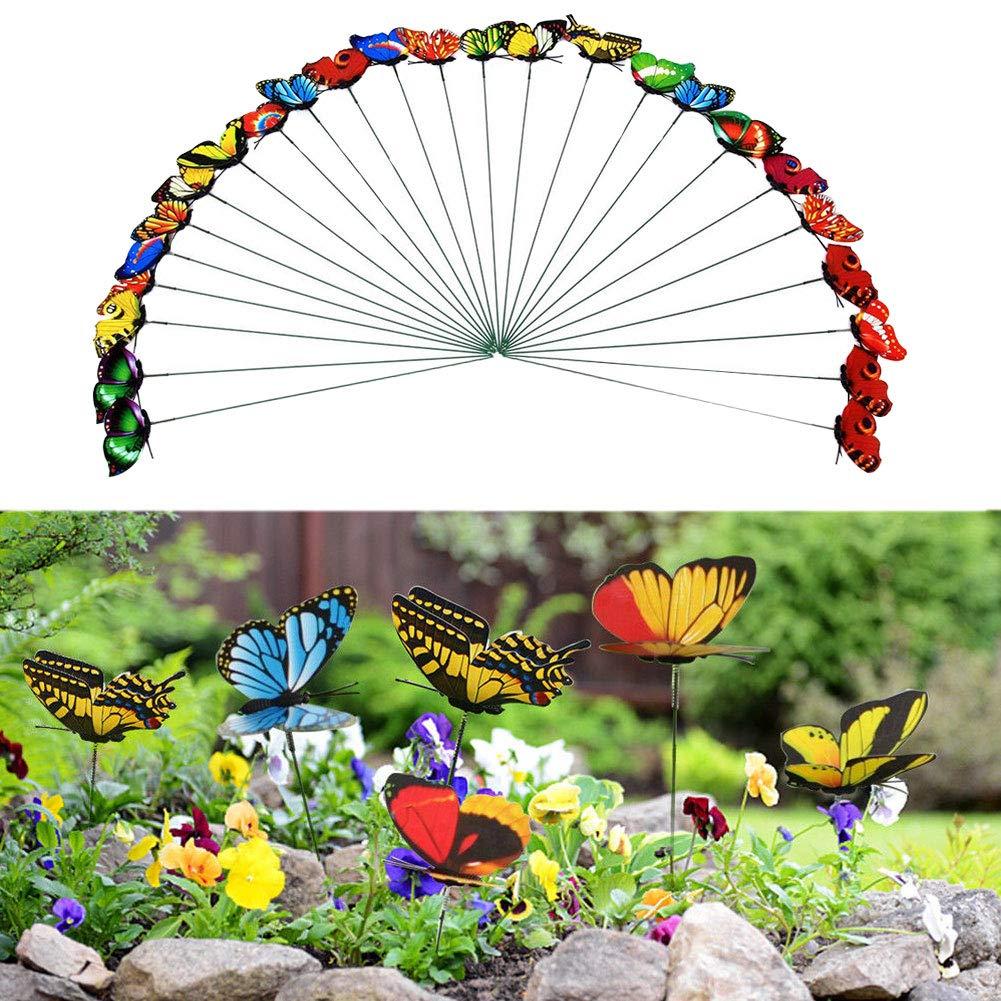 Kalaokei 25Pcs Double Layer Simulation Butterfly Insert Stick Lawn Flowerpot Garden Decor