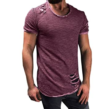 732fdc0e Men Fashion Tees,Man Mens Summer Hole Ripped Shirts Tops Short Sleeve Cool  Solid T