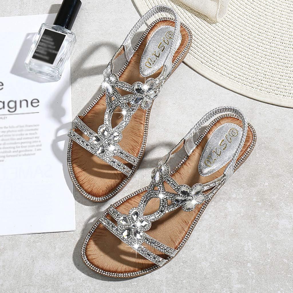 SUNNSEAN Sandale Boh/êMe Femme /ÉT/é Fleur Cristal Sandales Plates Plage Casual Chaussures Respirant Sandales Bout Ouvert Strass Sandales R/éSistant /à LUsure Et Durable
