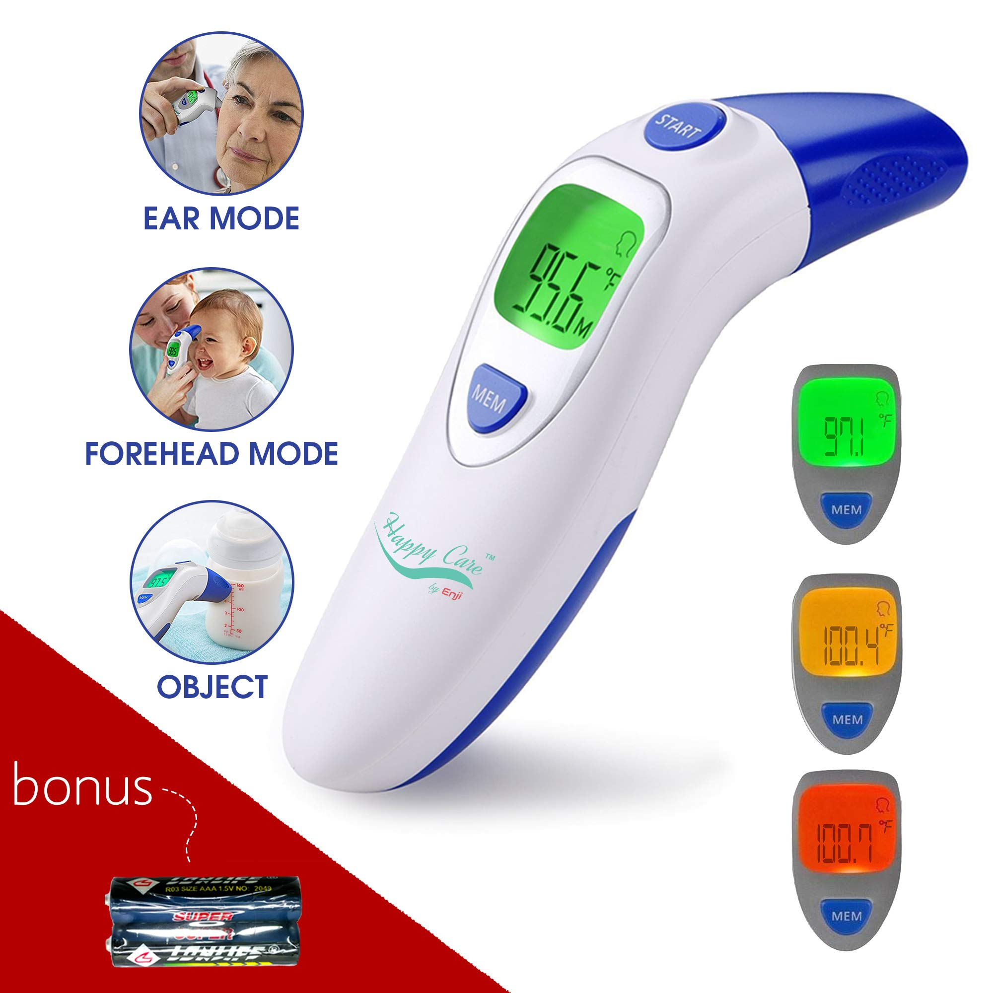 Baby, Children's, Adult Ear and Forehead Digital Thermometer - Temporal Electronic Infrared, Dual F & C Temperature Mode, Fast 1 Second Read, for Infants, Babies, Kids & Adults, Ear Termometro by HAPPY CARE BY ENJI