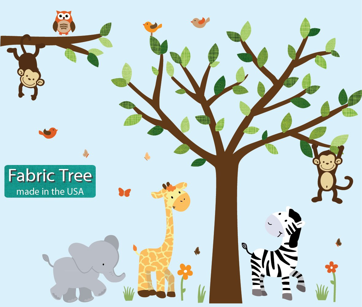 Fabric Safari Pride Jungle Tree Wall Decals, Jungle Stickers with Green Leaves