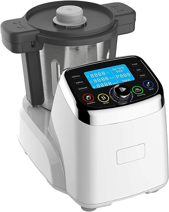 Robot de Cocina Multifunción MNR 2020. Capacidad 2L, Temperatura ajustable hasta 120ºC, Velocidad ajustable hasta 9.000 rpm, Incluye 6 accesorios, Jarra en Acero Inoxidable, más de 120 recetas, 1500W: Amazon.es