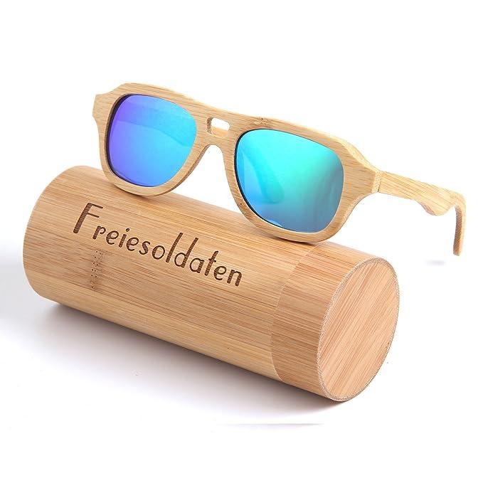 Freiesoldaten Hombres Mujeres Polarizado Gafas de madera Vendimia Glare-Free Lenses Gafas Bambú Gafas de