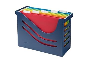 Jalema 2658026992 Re- Solution Office Box - Caja archivadora de oficina, incluidas 5 carpetas colgantes A4, ordenadas por colores, color azul: Amazon.es: ...