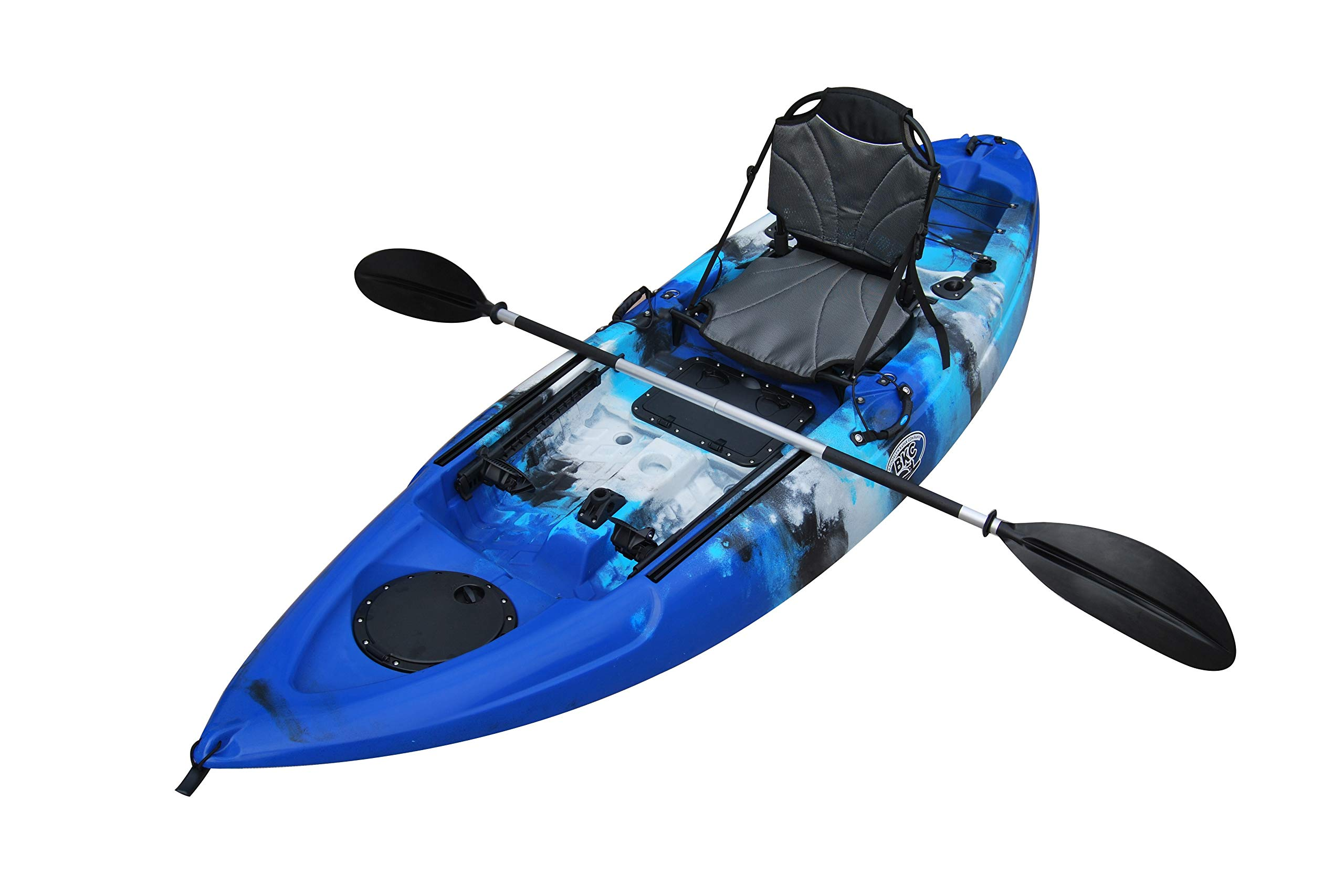 Brooklyn Kayak Company BKC UH-FK285 9.5 Foot Sit on Top Single Fishing Kayak with Upright Seat and Paddle Included (BLUECAMO) by Brooklyn Kayak Company