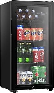 HAILANG Beverage Refrigerator With 126 Can,Freestanding Beverage Cooler For Office, Bar,Home|Double Glass Door&Adjustable Shelving