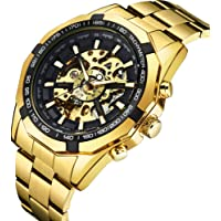 Watch Mens Watches Mechanical Stainless Steel Automatic Skeleton Fashion Analog Display Punk Style Wrist Watch Silver