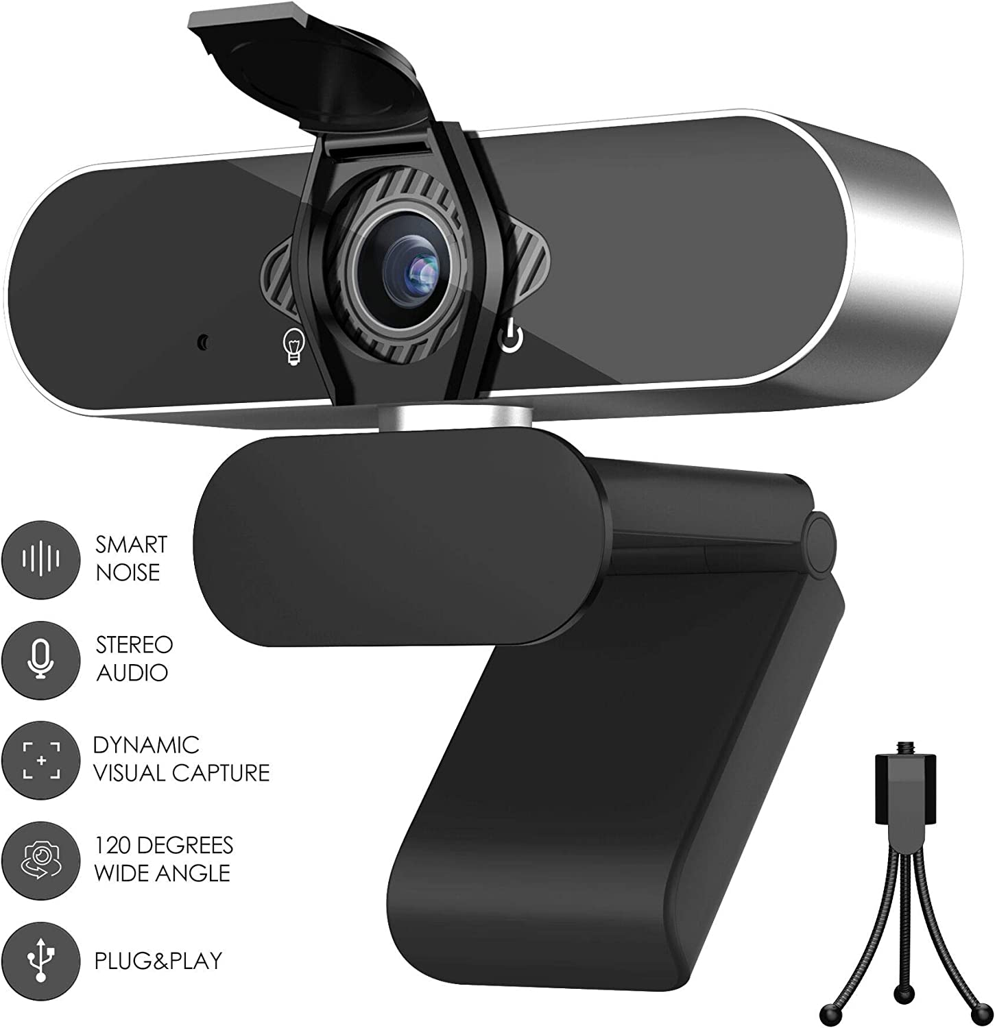HD 1080p Webcam with Microphone for Desktop and Laptop - External USB Computer Camera with Microphone - Web Camera for Streaming, Remote Study and Work, Video Calling, Recording, Conferencing