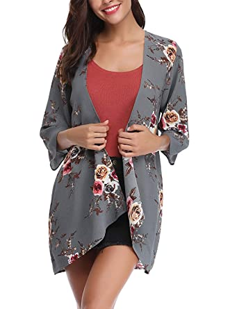459146b810ee63 Womens Floral Kimono Cardigan Casual Loose Sleeve Boho Lace Cover up Blouses  Top at Amazon Women s Clothing store