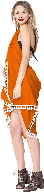 LA LEELA Costume da Bagno Rayon Coprire Legame Spiaggia Fessura Sarong Solido
