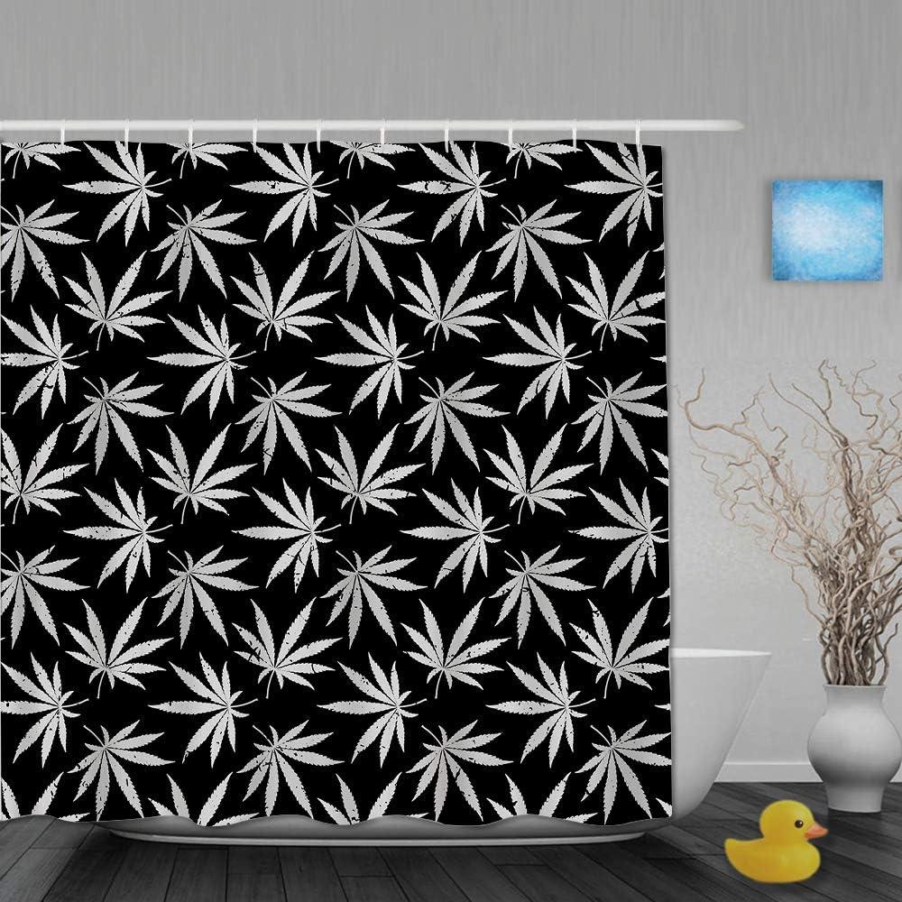 AIKIBELL Cortina de baño Repelente al Agua,Marihuana Cannabis Blanco y Negro,Cortinas de baño de poliéster de diseño 3D con 12 Ganchos