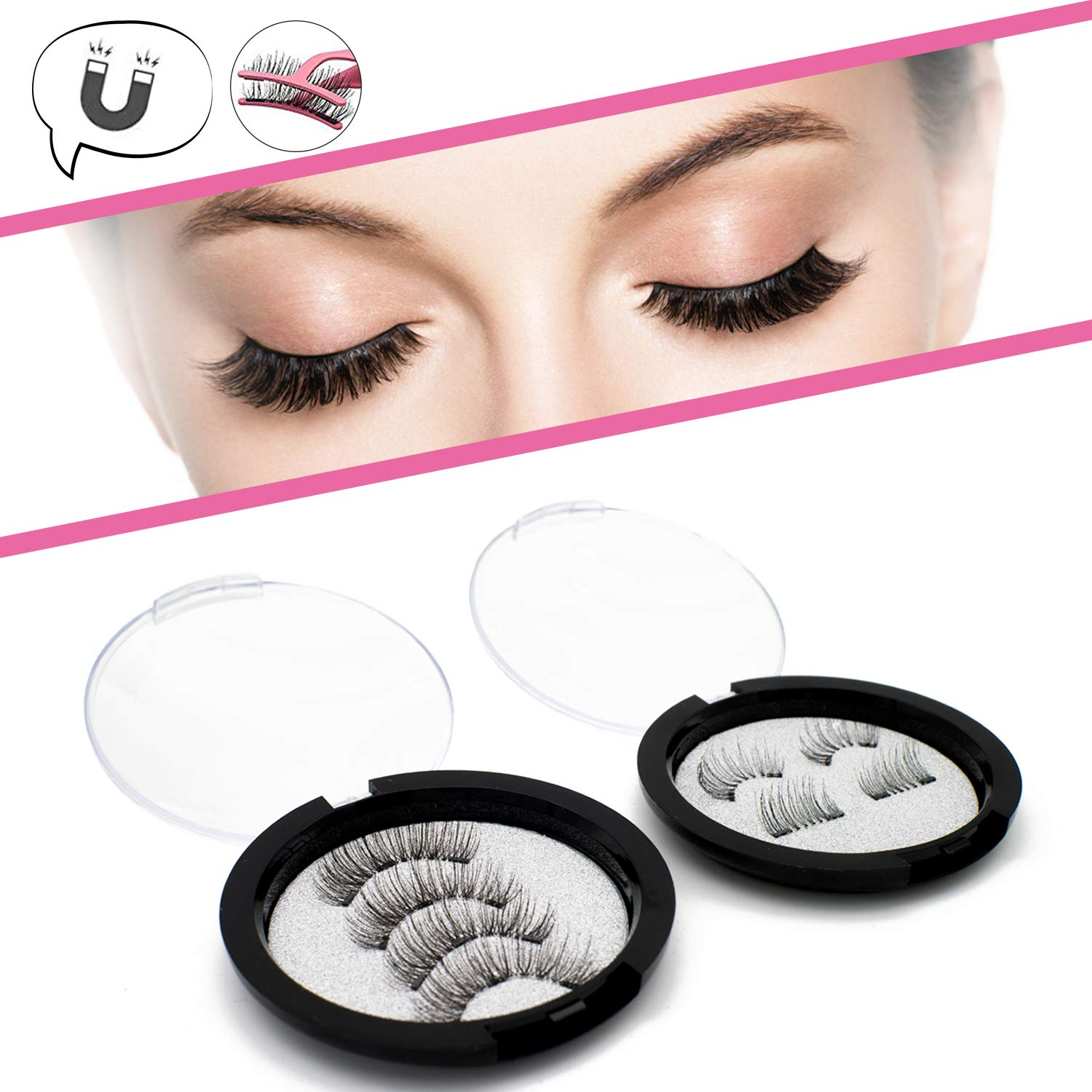 68dacde3af5 Amazon.com : Magnetic Eyelashes 3 Magnets Natural Look Full Eye Triple  Magnetic Lashes Extension 0.2mm Ultra Thin Magnet Lashes No Glue Handmade  Reusable (2 ...