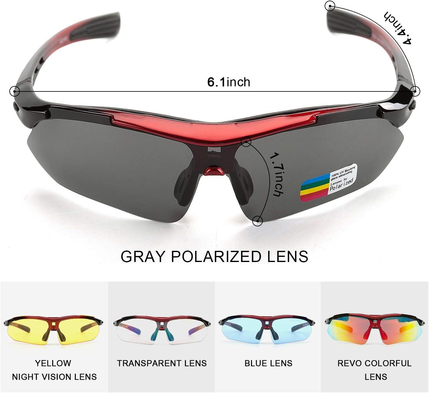 RENZER Occhiali Ciclismo Uvex Polarizzati Occhiali Bici Corsa MTB con 5 Lenti da Vista per Uomo e Donna