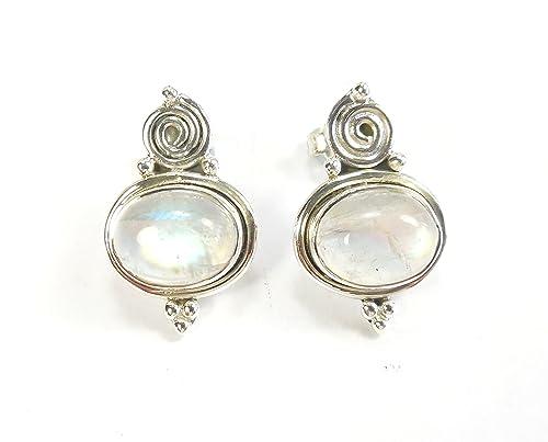 44f343b3c1f6 Beautiful Things para mujer Rainbow piedra lunar pendientes de Gemstone el  sello 925 de plata de ley azul Fire  Amazon.es  Joyería