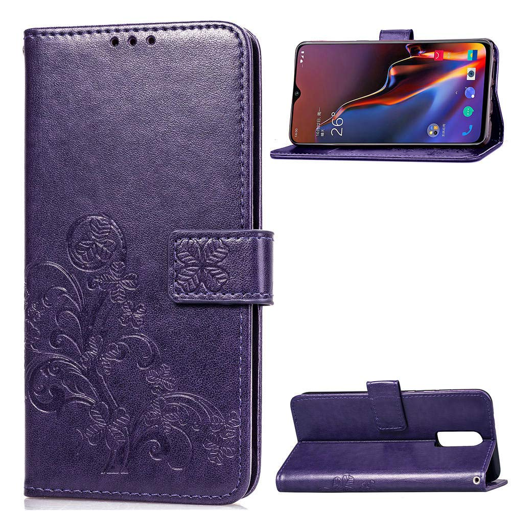 Find box OnePlus 6T Case, OnePlus 6T Case Leather,Folio Flip Wallet Case ID Credit Card [Kickstand Feature] Cover for OnePlus 6T Purple