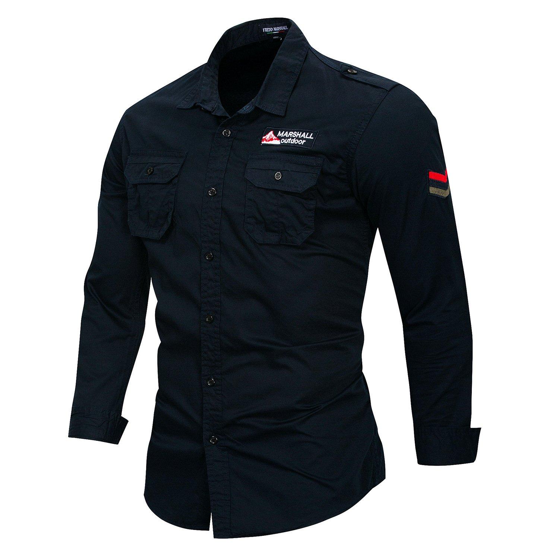 FREDD MARSHALL Mens Button Down Casual Pocket Jean Shirt