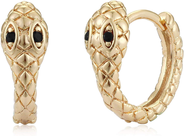 Mevecco Gold Huggie Hoop Earrings for Women 14K Gold Plated Snake Dangle Earring Dangle Hoop Cuff Earrings Huggie Stud Earrings for Women
