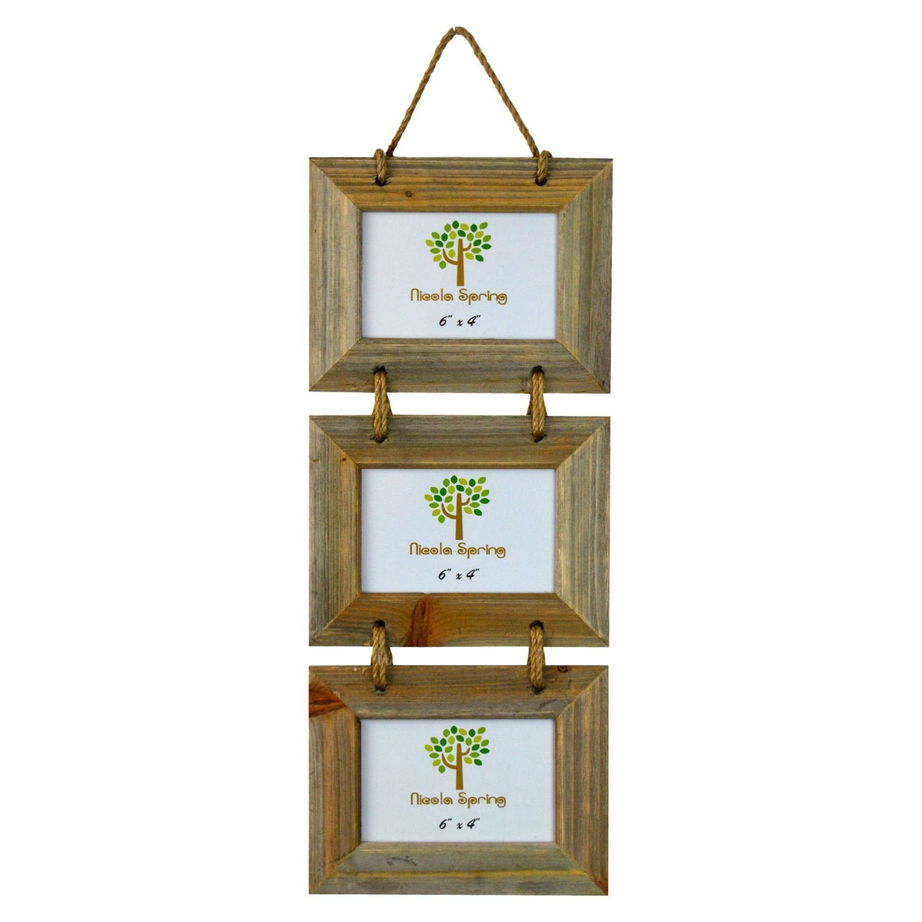 Chic & Shabby Rustic Natural Wooden Triple Three 3 Hanging Photo Frame 6x4''