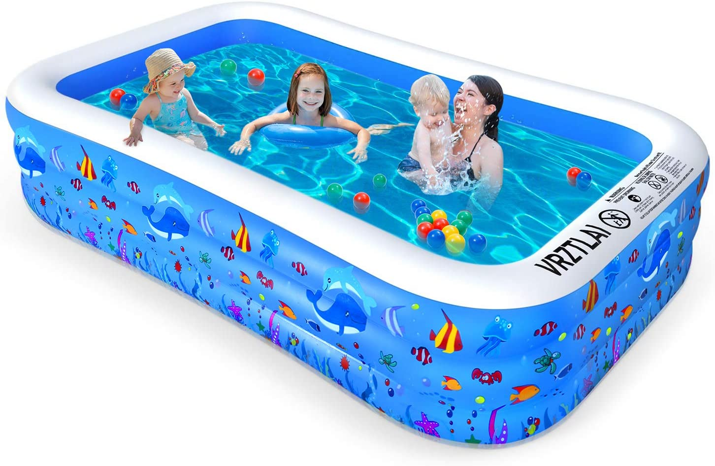 Children Inflatable Swimming Pool Family Lounging Swimming Pool for Kids Adults Babies Toddlers Outdoor Garden Backyard Kiddie Pools Outdoor Toy Pool Baby Play Pool 4 Layer