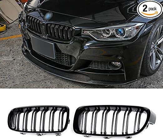 Diamond-Gloss Black Ricoy For BMW F30 F31 2012-2018 3-Series xDrive Twin FIns Double Slat Front Kindey Bumper Grille Grill