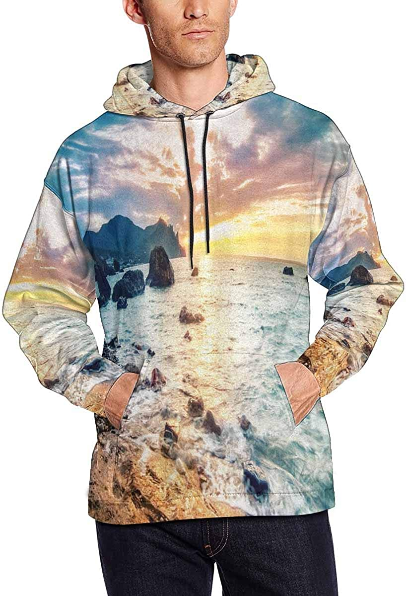 INTERESTPRINT Mens Summer Seascape with Mountain and Waves Novelty Hoodies Sweatshirt