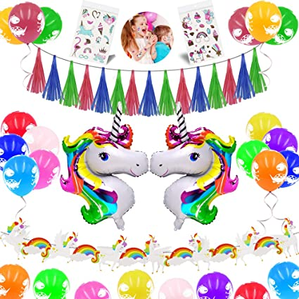 Amazon.com: JUSTIDEA Unicornio decoración de fiesta de ...
