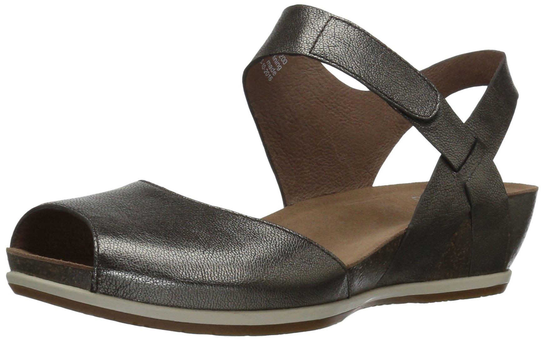 Dansko Women's Vera Flat Sandal, Pewter Nappa, 39 M EU (8.5-9 US)