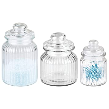 Mdesign Glass Storage Containers Set Of 3 Glass Jars With Lids