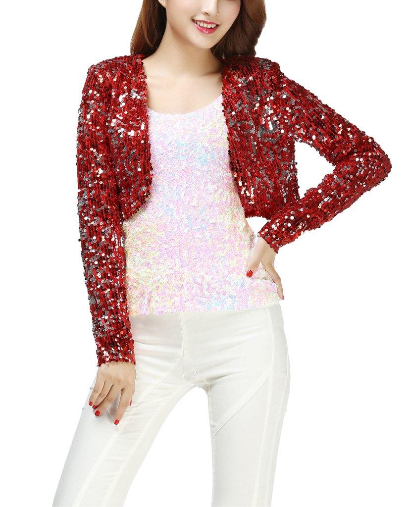 Whitewed Mettalic Sequined Bolero Jacket Cardigan Shrugs for Evening Wedding Dresses Red
