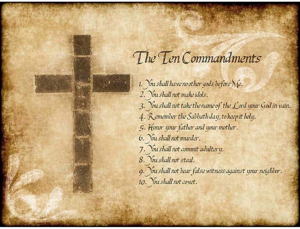 Wee Blue Coo Ten 10 Commandments Cross Christian Religious Quote Typography Unframed Wall Art Print Poster Home Decor Premium