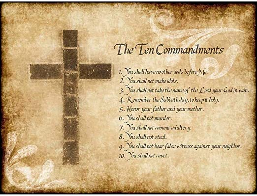 TEN COMMANDMENTS POSTER 24x36 inch rolled poster