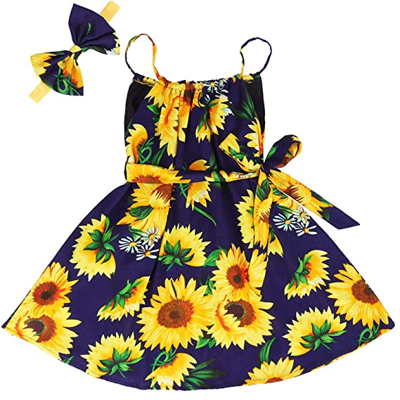 Girls Summer Sunflower Sleeveless Dress Kids Holiday Beach Clothes Outfits 1-6Y