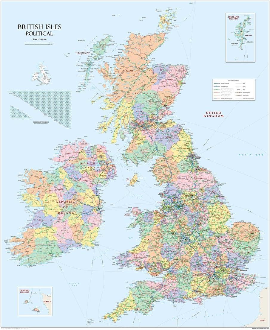 Cartina Geografica Politica Gran Bretagna.Grandi Isole Britanniche Regno Unito Mappa Politica Carta Plastificata 120 X 100 Cm Gm Amazon It Casa E Cucina
