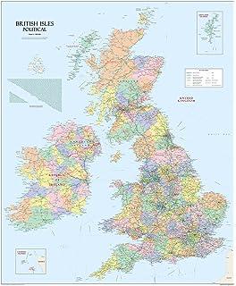 Grandes Islas Británicas UK mapa político – Papel laminado 120 x 100 cm ...
