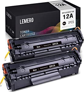 LEMERO Compatible Toner Cartridge Replacement for HP 12A Q2612A - use with Laserjet 1020 1010 3015 3030 3050 3055 1022 1018 3020 1012 1022n (Black, 2-Pack)