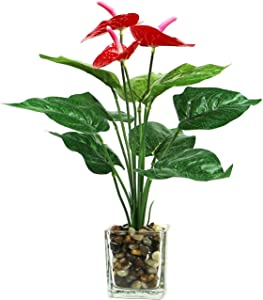 Artificial Flower and Green Leaves Silk Plant Fake Bonsai Red Flower Greenery Small Potted Plants in Glass Vase for Home Office Bedroom Table Centerpieces Décor (Red)