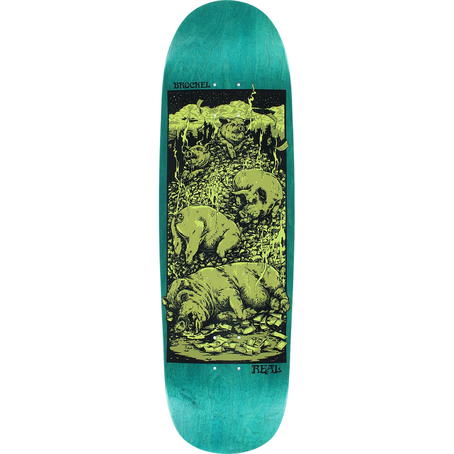 Real Skateboards RobbieブロッケルPigs in Zenブラウン/グロースケートボードデッキ – 9.32