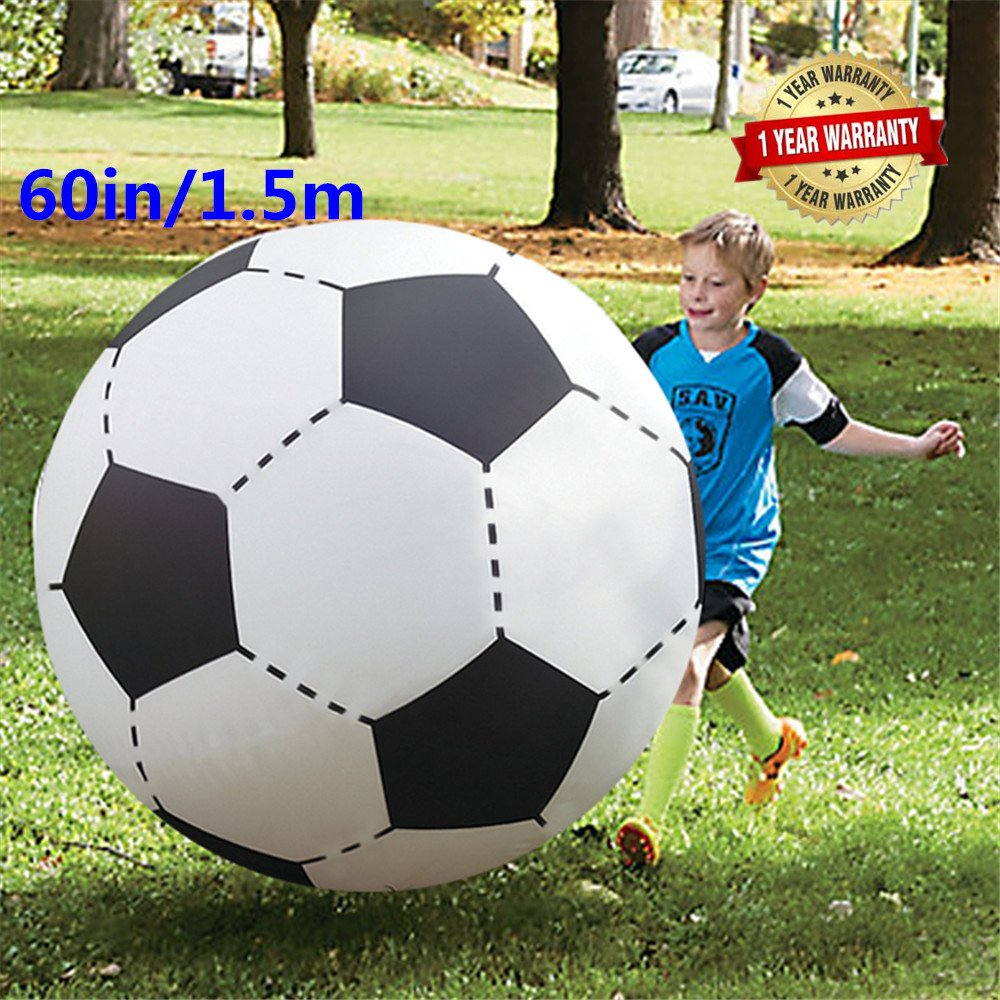 Warrrr 60In Over Sized Giant Inflatable Beach Football Floating Pool Soccer Ball for Party Play Game Toy