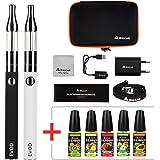 Salcar® EVOD Mini Protank E-cigarette Kit de Deux Cigarettes Electroniques+ 5x10ml set e liquide, Sans Tabac Ni Nicotine ( Blanc + Noir)