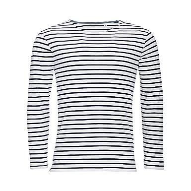 8d9bfbb6d6740 SOLS Marine - T-shirt rayé à manches longues - Homme: Amazon.fr ...
