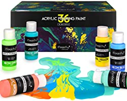 Magicfly 36 Colors Acrylic Pouring Paint (60ml/2 oz) Bottles, Pre-Mixed & Ready to Pour Acrylic Pouring Paint for Canvas, Woo