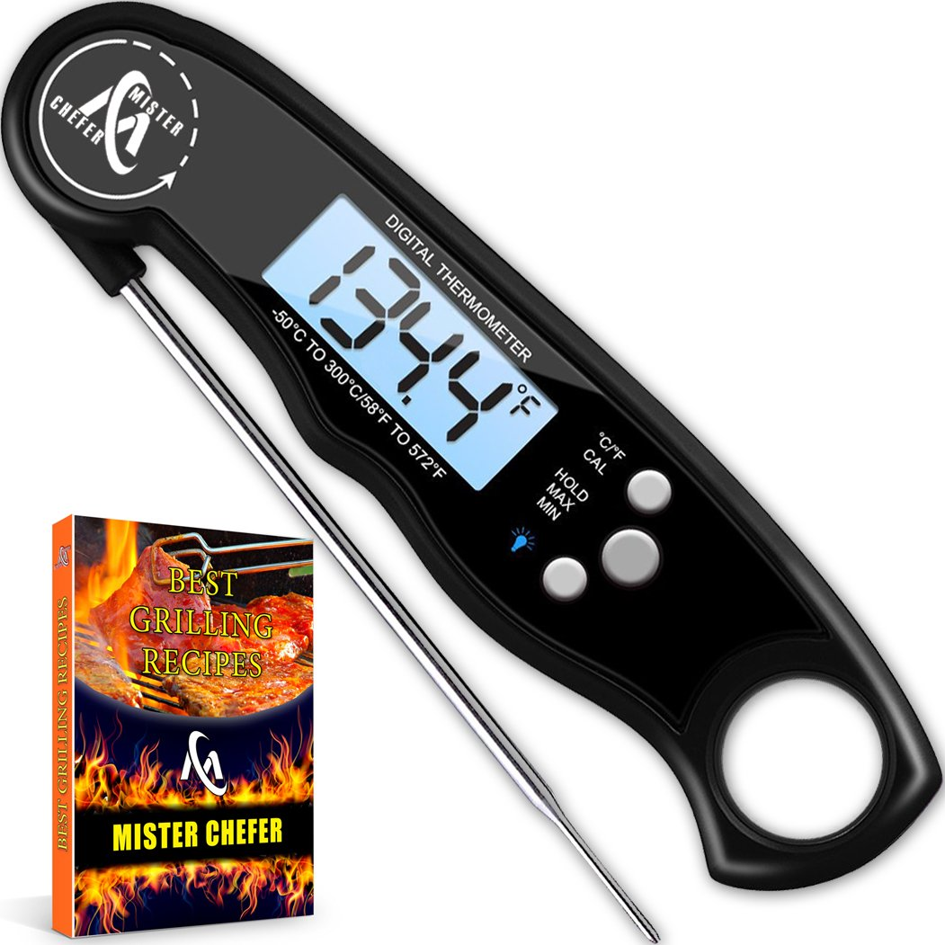 Instant Read Thermometer Best Waterproof Digital Meat Thermometer with Backlight and Calibration functions Food Thermometer for Outdoor and Kitchen Cooking Mister Chefer