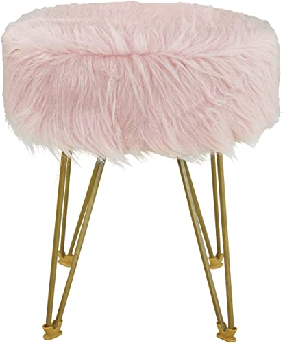 GOLDSUN Ottoman Round Faux Fur Footstool Metal Legs Upholstered Decorative Furniture Rest Vanity Seat Padded Seat