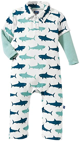 052748e8f Kickee Pants Print Polo Romper, Natural Megalodon, 0-3 Months ...