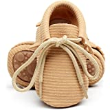 HONGTEYA Leather Baby Moccasins Lace Up Rubber Sole Crib Toddler Boots Shoes For Boys and Girls