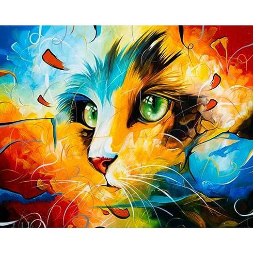 Pintura por Números - Cabeza de gato colorido - Adultos - pinturas ...